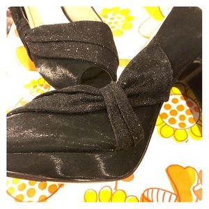 Shimmery and matte peep toe formal heels